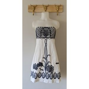 •Lilly Pulitzer• Embroidered White Strapless Dress